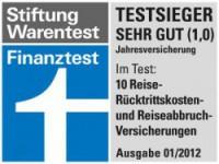 Finanztest Stiftung Warentest Siegel Testurteil Sehr Gut Reiserücktrittskosten und Reiseabbruchverischerungen 01/2012
